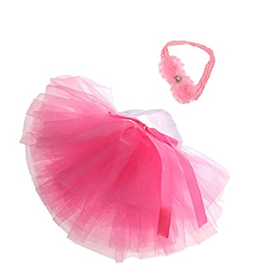 MagiDeal Infant Baby Girls Newborn Tulle Tutu Skirt Costume & Headband Set,0-3T