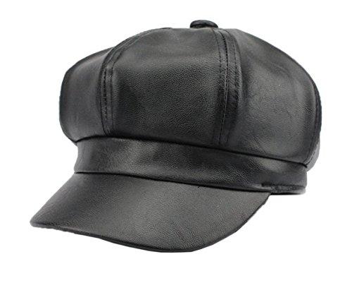 COMVIP Damen Pu Leder Newsboy Caps Baskenmützen Barette Cap Schirmmützen Schwarz