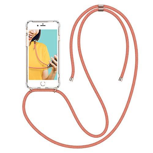 Winhoo Handykette Handyhülle mit Band Kompatibel mit iPhone 7 Plus Hülle iPhone 8 Plus Hülle Silikon und Hard Transparent Durchsichtig Necklace Schutzhülle Kratzfest Handyanhänger - Rose Gold Transparente Front Leder