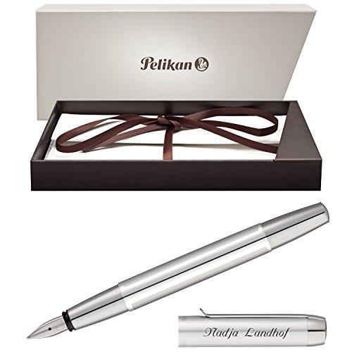 Pelikan Füllfederhalter PURA Silber mit persönlicher Laser-Gravur aus Aluminium mit Hochglanz verchromten Metallbeschlägen