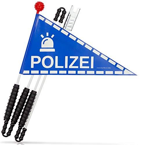 Karl Drais ® Fahrradwimpel Polizei aus reißfester Heavy Duty LKW Plane | Fahrrad Wimpel | Jungen Sicherheitswimpel Polizisten (Fahrradfahne)