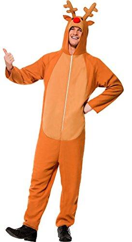 änner Weihnachts Kostüm Unisex Rentier Onesie Einteiler Erwachsenen Kostüme, XL, Hellbraun (Mann Elfe Kostüm)