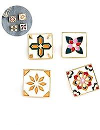 4pcs / set broche del botón cuadrado de la vendimia de la insignia del partido Broche