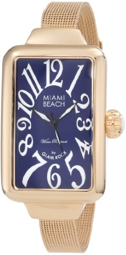 Glam Rock Miami Beach Art Deco - Esfera de Acero Inoxidable para Mujer, Color Azul y Dorado