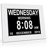 SVINZ Calendar Memory Loss Day Clock with Digital Photo Frame, Extra Large Non-Abbreviated Day & Month, White, 8