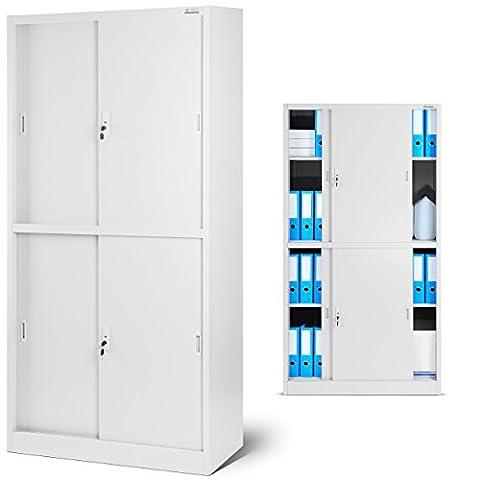 Aktenschrank SD004 Büroschrank mit Schiebetüren 2 Abteile abschließbar 185 cm x 90 cm x 40 cm (grau/grau)