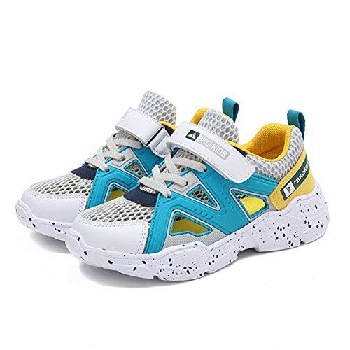 Lefuku sandali bambino punta chiusa mesh estive scarpe trekking bambina rete ginnastica ragazzo traspiranti ragazza (verde giallo 29)