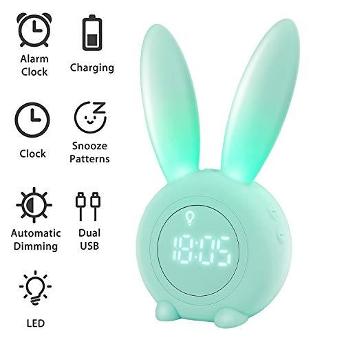 Homealexa Kinder Lichtwecker Cute Rabbit Wake Up Kinderwecker Creative Nachttischlampe Snooze-Funktion,...