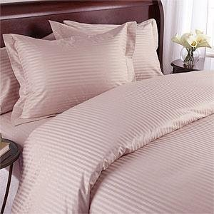 7 pc Blush Damask Stripe California King Size Bed Sheet-Duvet Cover Sheet with TWO Shams and TWO pillow cases set. 1500 Thread Count 100% Long Staple Egyptian Giza Cotton with Swiss Sateen Finishing by Prime Linens
