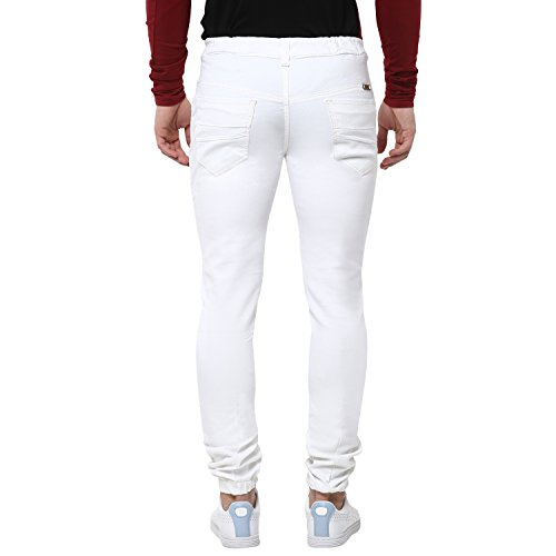 Urbano Fashion Men's White Slim Fit Stretchable Jogger Jeans (Size : 30)