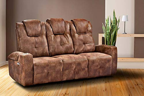 lifestyle4living Sofa 2-3-Sitzer, Mikrofaser, braun | Funktionssofa mit Stauraum & Liegefunktion für entspannte Heimkino-Abende