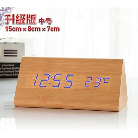 FQQRYY Il campanello di allarme creativeled legno Jong-orologio elettronico bellissimo orologio mute pigri glow-in-the-testa di orologi P sta per