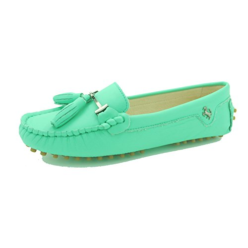Minitoo JD568–3 Mocassini da donna con nappa in camoscio Leather-Turquoise