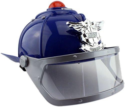 GYD Kinder-Einsatzhelm Polizei oder feuerwehr mit Visier und Sirene LED (Polizei (BLAU))