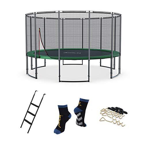Ampel 24 Deluxe Outdoor Trampolin 430 cm mit Netz und Sicherheitsring, Belastbarkeit 160 kg, Set mit Leiter, Windsicherung und 1 Paar Antirutsch-Socken extra