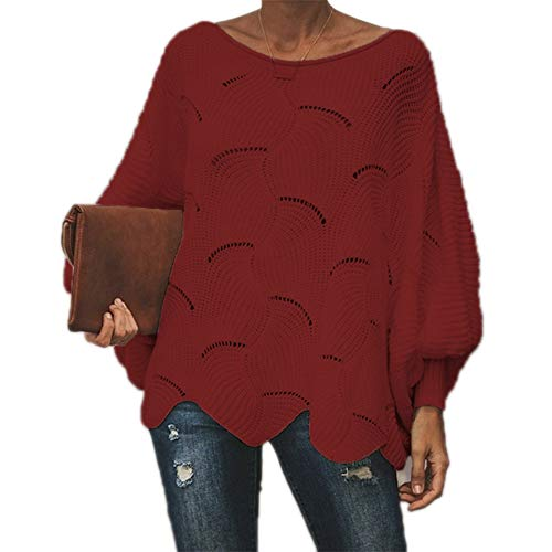Women Loose Sweater Cloak Oversized Soft Lantern Sleeve Hollow Out Pullovers Knit O Neck Sweaters Red XXXL -