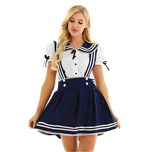 FEESHOW Mädchen Damen Schulmädchen Cosplay Kostüm Sailor Uniform Set Hemd mit Hosenträgerrock Halloween Party Outfit Navy Blau+Weiss - Teenager Sailor Kostüm