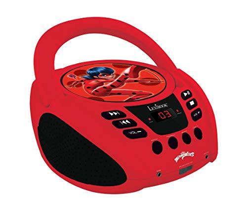 Lexibook Miraculous Boombox CD-Player, Mikrofonanschluss, AUX-Eingangsbuchse, AC-Betrieb oder Batterie, Rot/Schwarz, RCD108MI