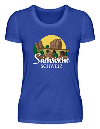 Shirt-o-Topia DE Bastei Sächsische Schweiz Geschenk für Wanderer, Bergsteiger und Wandergruppen - Damenshirt -XXL-Neonblau