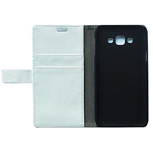 oulk® Samsung One Touch Pop 2Galaxy E7Étui, PU Litchi en cuir cousu main portefeuille Coque avec béquille