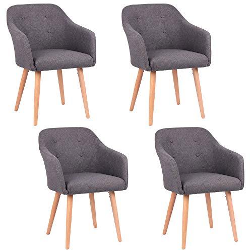 Kingpower 2/4/6/8 Set Stühle Esszimmerstühle Stuhl Sessel Armlehne Versch. Farben, Auswahl:4 Sessel - Dunkelgrau - 4 Armlehnen