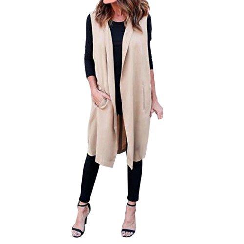 Kolylong® Frauen-dünne Weste-lange Jacke Frau lange Mantel Jacke Windbreaker Frau Strickjacke Khaki