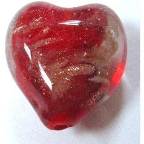 10pezzi 12mm Rosso Brillante lume Cuore Perline di Vetro, a4462