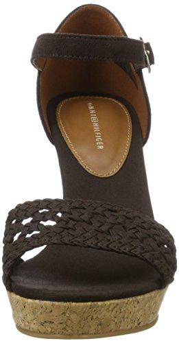 Tommy Hilfiger Int E1285del 5c, Sandales Bout Ouvert Femme Marron (Dark Brown 294)