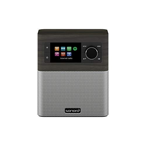 sonoro Stream Küchenradio Streaming+ (FM/DAB+, AUX, Bluetooth, Spotify, Amazon Music, Deezer) Mooreiche/Silber - Internet-Radio für Küche und Bad