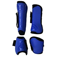 TentHome Brushing Boots for Horses Tendon Fetlock Boots Set Equestrian for Medium Horse or Large Horse (Blue, 1 pair(fore)&1 pair (hind))