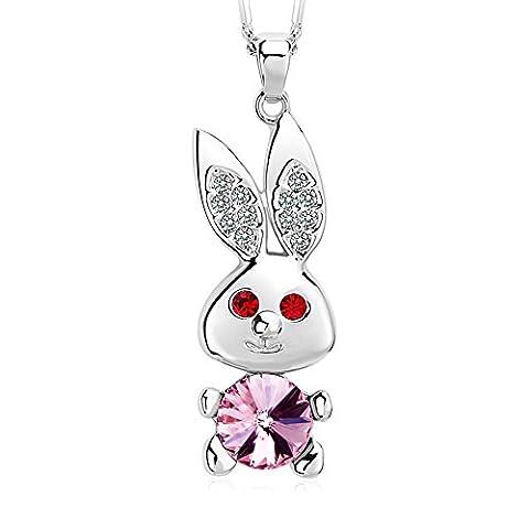 FANSING Schmuck Kristalle Tier Hase Halskette Ketten mit Anhänger für Damen Mädchen Kinder Rosa