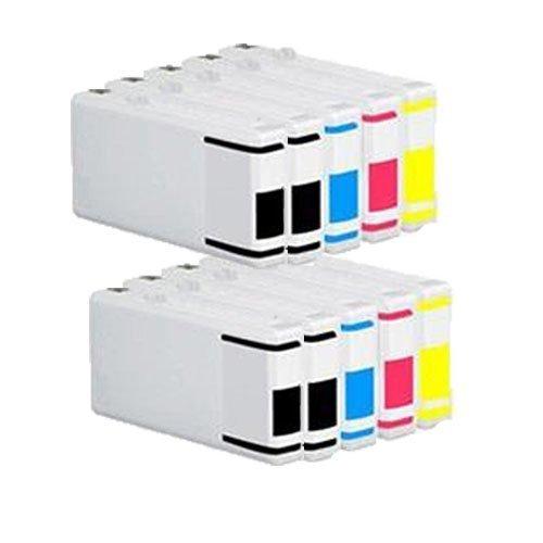 10 Cartucce d'inchiostro compatibile per Epson T7021 T7022 T7023 T7024 (4x nero + 2x ciano + 2x magenta + 2x giallo) CON STAMPANTE Epson WP-4015DN / WP-4025DW / WP-4515DN / WP-4525DNF / WP-4535DWF / WP-4545DTWF / WP-4595DNF / WP-4095DN