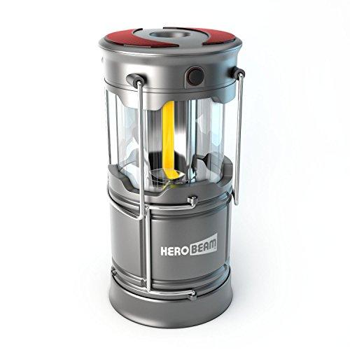 HeroBeam® LED Laterne - COB Technologie mit 300 LUMEN! - Wiederaufladbare Campinglampe - Großartig bei Camping, im Auto, Schuppen, Dachboden, Garage & Stromausfällen (V3)