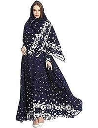 4cc3c0b0742d Meijunter Musulmano Abito da Donna con Hijab - Vestito con Stampa Floreale  Abaya Dubai Arabo Islamico