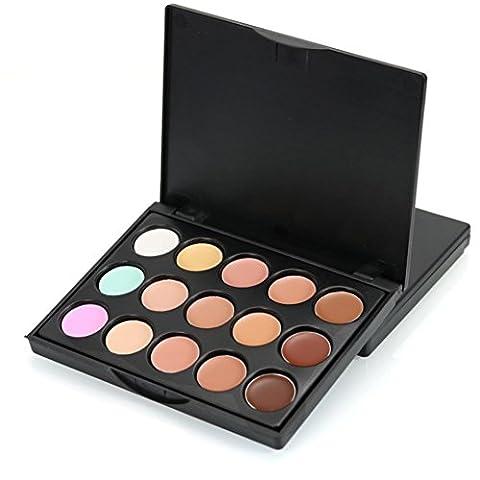 Concealer,15 Colors Face Concealer Camouflage Cream Contour Palette Cosmetic Lanspo (A)