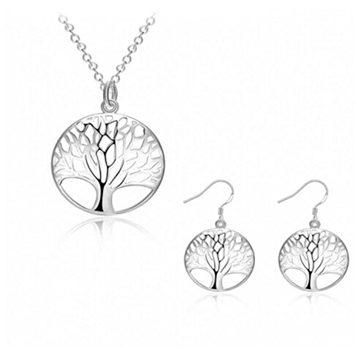 SevenMye Tree of Life Earrings and Necklace Jewelry Set for Women Girls Mothers Day Gifts