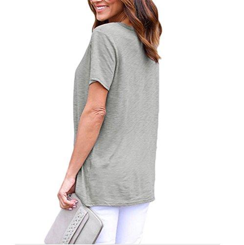 ... PU&PU Frauen-beiläufiges / tägliches einfaches T-Shirt V Ansatz-Verband- Kurzschluss