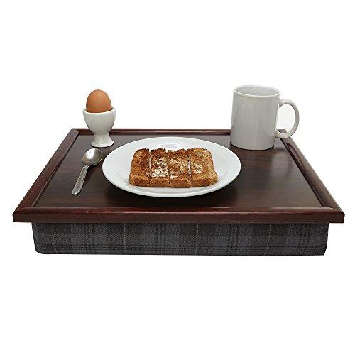 Hochwertiges Knietablett mit edlem, grauen Tartan-Kissen, stabiles Tablett, für Arbeiten vom Bett...