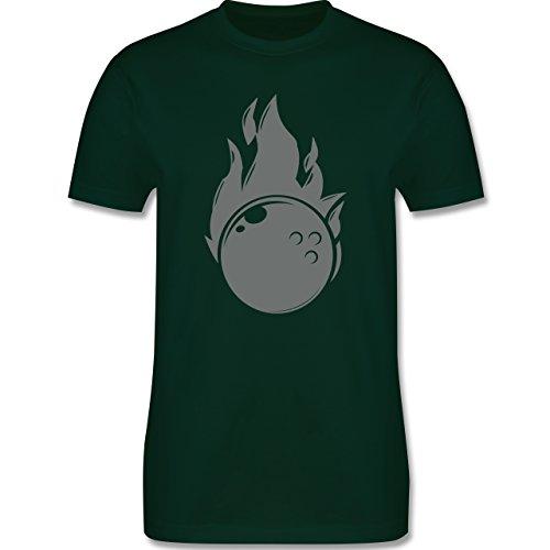 Bowling & Kegeln - Bowling Flammen Ball einfarbig - Herren Premium T-Shirt Dunkelgrün
