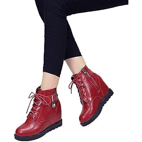 Minetom Mujer Otoño Invierno Cordones Martin Boots Talón De Cuña Botas Altura Creciente Zapatos