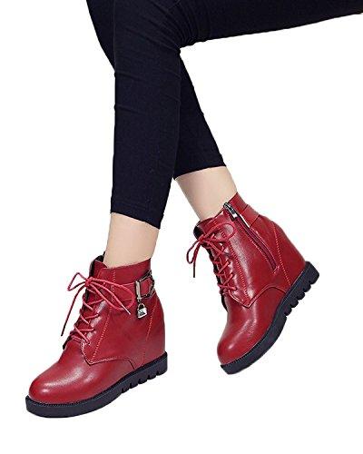 Minetom Donna Autunno Inverno Stringate Martin Boots Zeppa Stivali Altezza Crescente Scarpe Stivali Rosso EU 37