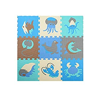 Abaobao Children's Interlocking Foam Puzzle Mat for Garages, Laundry Rooms, Bedrooms, Nurseries, Play Areas, Games Rooms or Gardens, Sea A, 30_x_30_cm