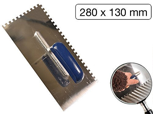 Zahnkelle mit blauem Holzgriff Edelstahl 280 x 130mm Zahnung 6 x 6mm