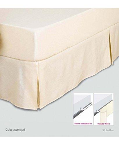 Es-Tela Housse de canapé en fils tintés, rustique uni avec velcro Cama de 160 cm. Blanc optique
