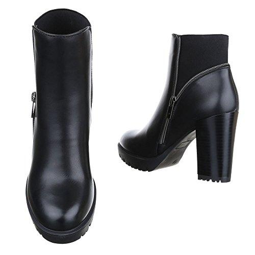 Ital-Design Klassische Stiefeletten Damen Schuhe Schlupfstiefel Pump Moderne Stiefeletten Schwarz