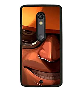HiFi High Glossy Designer Phone Back Case Cover Motorola Moto X Play ( Wicked Smile Man Yellow Hat )