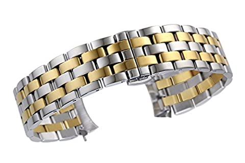 24mm Superior Wide Two Tone Curved End Watch Bands in Silver and Gold Semi-Matte Solid Stainless Steel