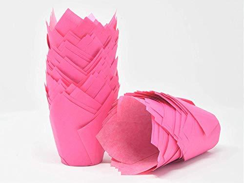 200 Stück Tulpe Cupcake Liner Backförmchen Papier Cupcake und Muffin Backförmchen für Hochzeiten, Events und Geburtstag rose (Rose Papier-backförmchen)