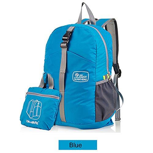 YOUJIADIAN Der Faltbare Rucksack aus Nylon mit großem Fassungsvermögen ist wasserdicht für Damen und Herren,Blue