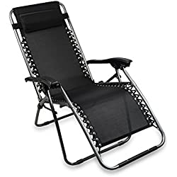 Sotech - Transat de Plage Pliable,Chaise Longue Inclinable,Fauteuil Relax avec Coussin,Charge Maximale 100 Kg,165 x 112 x 65 cm,Noir